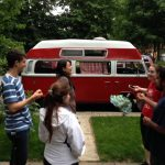 Palmer Lab Marveling at Abe's van (Palmer Lab Summer 2014 Party)